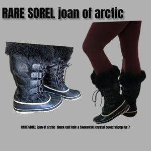 RARE SOREL joan of arctic  black calf hair & Swarovski crystal boots sheep fur 7